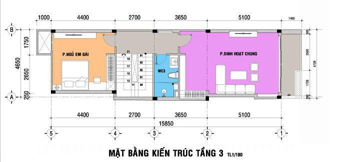 4- Mẫu thiết kế nhà 5x15m có thang máy full nội thất
