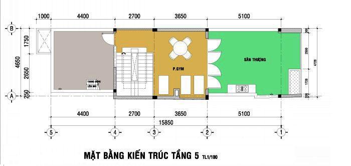 6- Mẫu thiết kế nhà 5x15m có thang máy full nội thất
