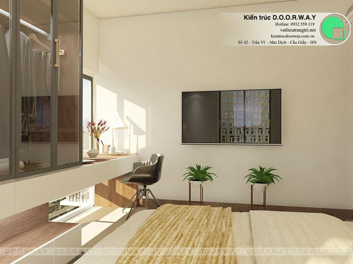 PN1(2)- Mẫu thiết kế đơn giản cho nội thất căn hộ 74m2 Eco Dream