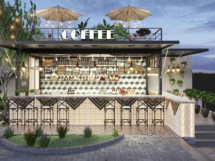 1- Gợi ý 12 mẫu quán cafe đơn giản đẹp với mặt tiền xanh mát