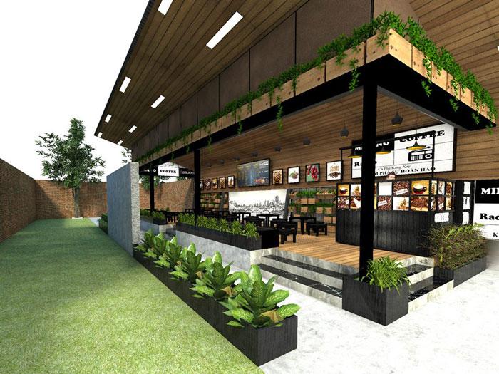 2- Gợi ý 12 mẫu quán cafe đơn giản đẹp với mặt tiền xanh mát