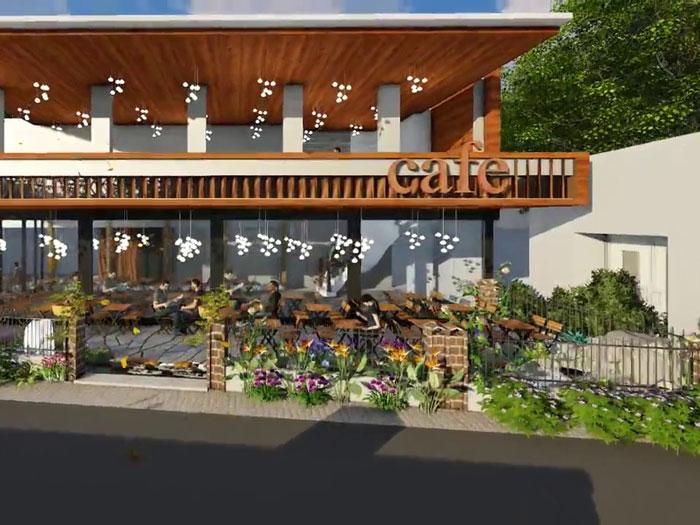 3- Gợi ý 12 mẫu quán cafe đơn giản đẹp với mặt tiền xanh mát