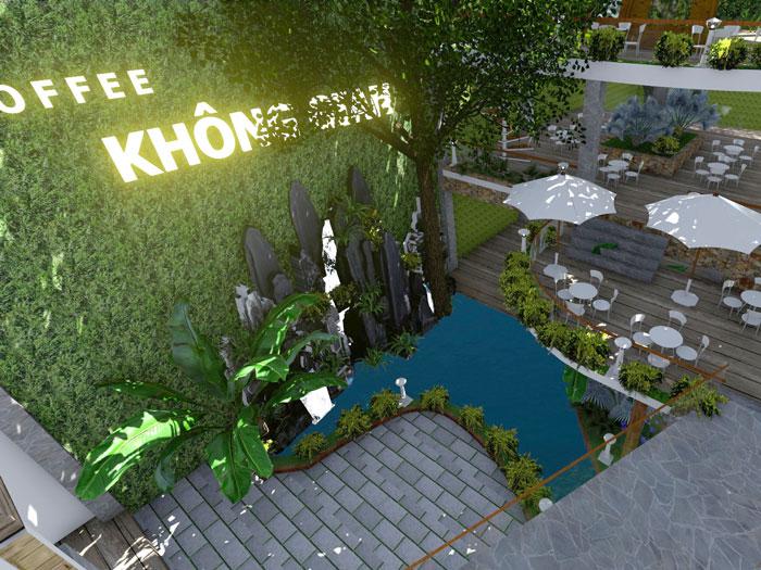 8- Gợi ý 12 mẫu quán cafe đơn giản đẹp với mặt tiền xanh mát