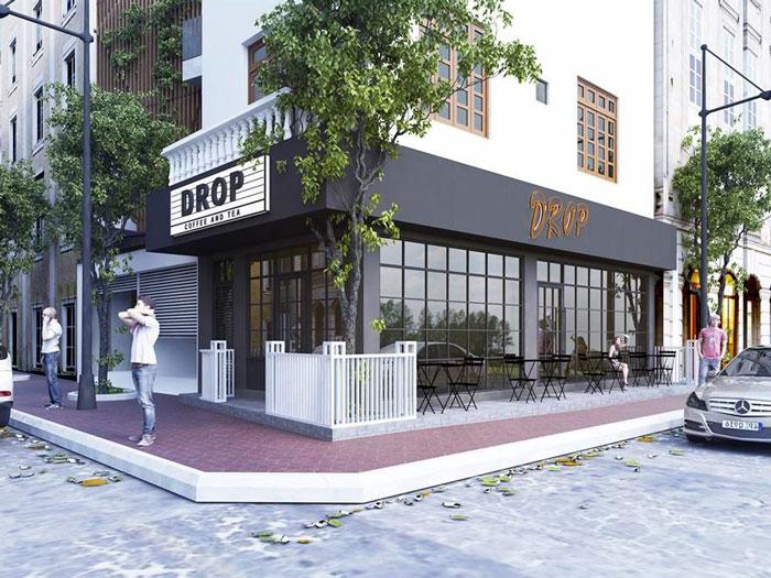 9- Gợi ý 12 mẫu quán cafe đơn giản đẹp với mặt tiền xanh mát
