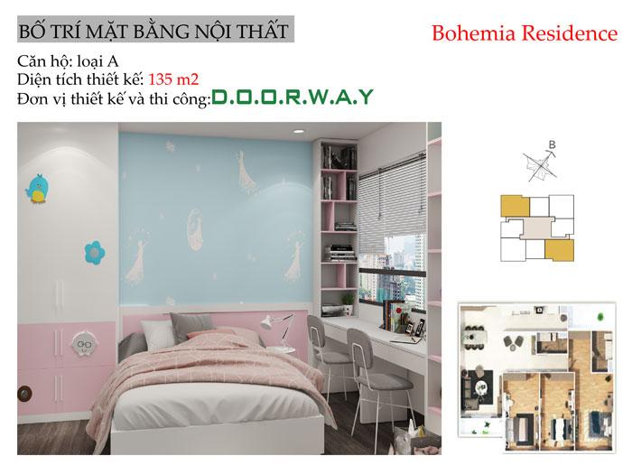 MB-135m2- Thiết kế nội thất căn 3 phòng ngủ Bohemia Residence tiện nghi mà đẹp