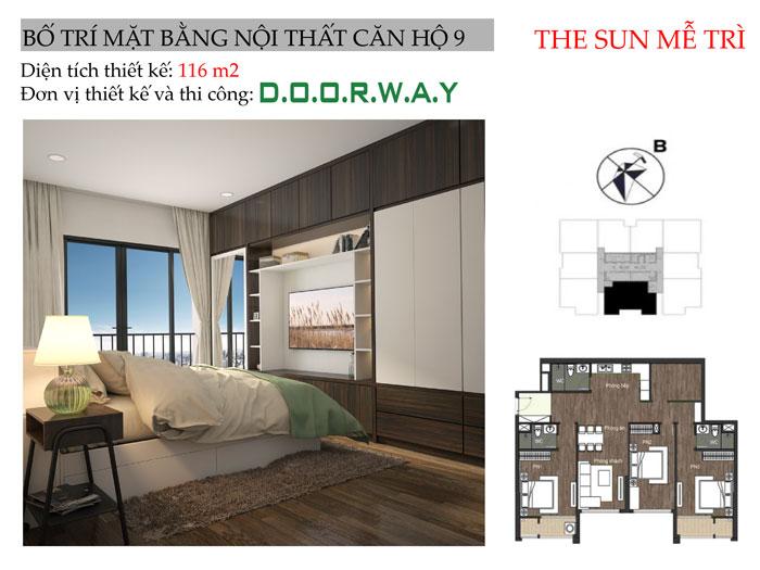 MB-116m2- Mẫu nội thất căn 4 phòng ngủ The Sun Mễ Trì - Căn hộ 116m2