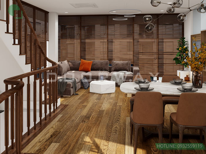 (2)Những mẫu thiết kế nội thất phòng khách nhà ống đẹp