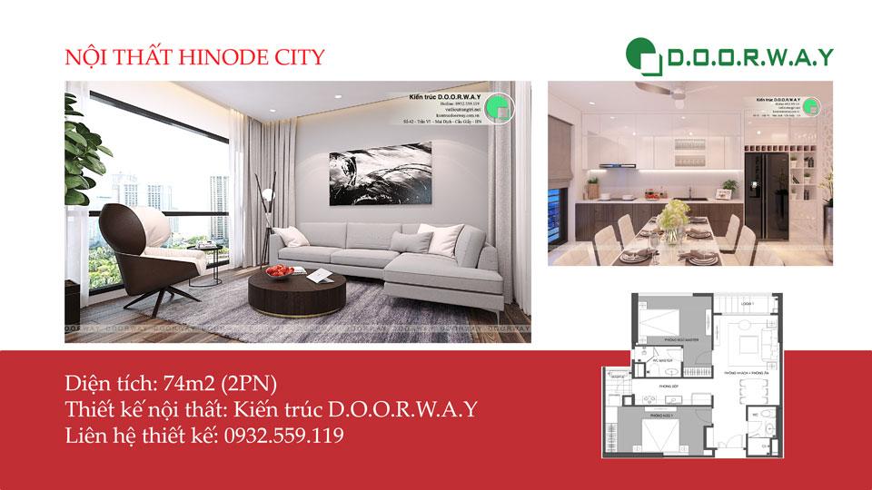 Ảnh tiêu biểu - Thiết kế nội thất căn hộ 74m2 Hinode City - Căn hộ 2PN đẹp