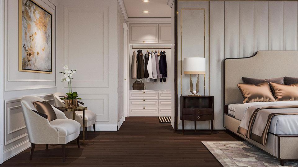 Ảnh tiêu biểu- Cách thiết kế phòng ngủ có phòng thay đồ đẹp sang trọng