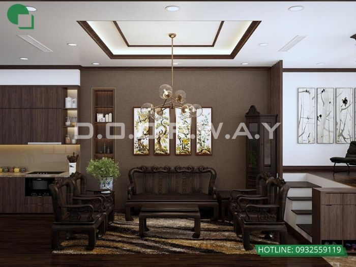 3-Thi công nội thất phòng khách bằng gỗ - xu hướng thời đại