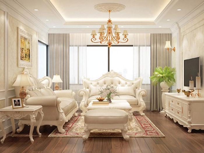4-Trong các mẫu thiết kế nội thất phòng khách tân cổ điển, những tonemàu vàng, be được sử dụng phổ biến và là màu chủ đạo trong các góc không gian. Hai gam màu nàythể hiện sự quyền quý, tôn vẻ sang trọng cho đồ nội thất, thể hiện vẻ đẹp cao sang mà phong cách tân cổ điển hướng đến.