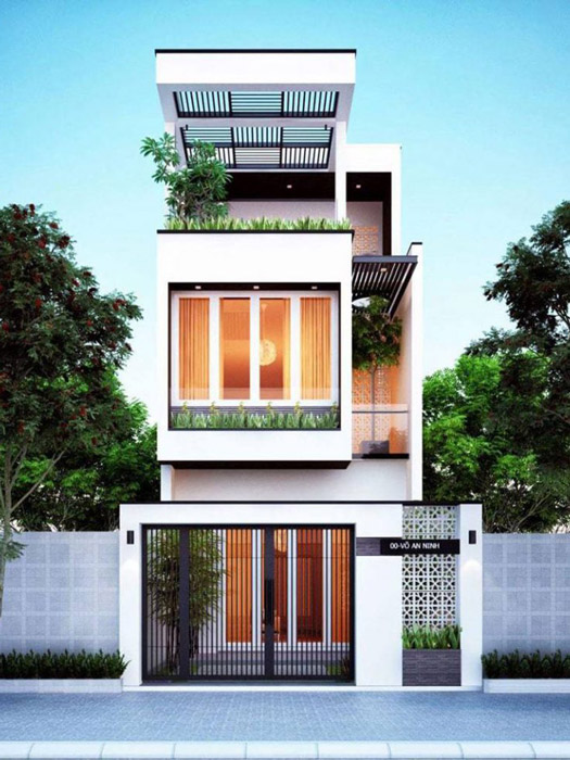 3--Mẫu thiết kế nhà ống 3 tầng 4 phòng ngủ đẹp hiện đại, tối giản