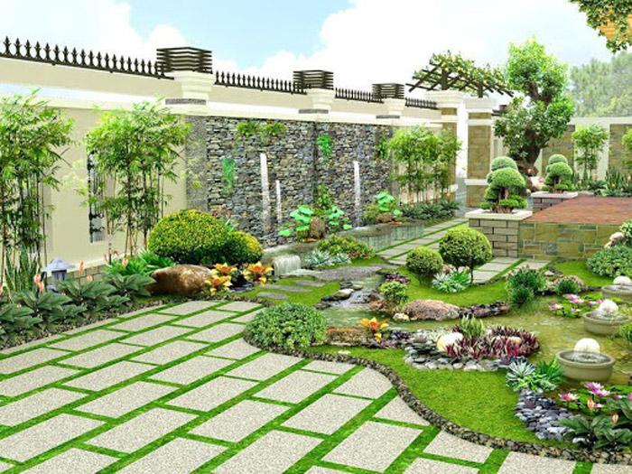 1- Thiết kế sân vườn nhà biệt thự đẹp, hợp phong thủy