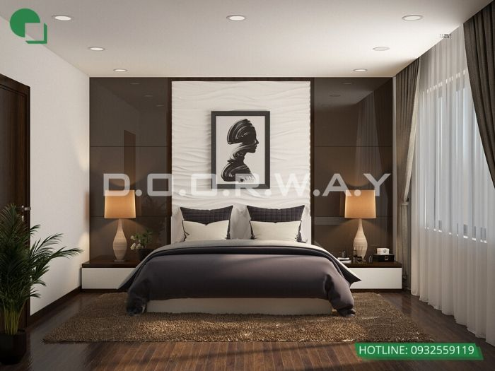 PN2(góc 2)Thiết kế nội thất căn 2 phòng ngủ Mỹ Đình Pearl