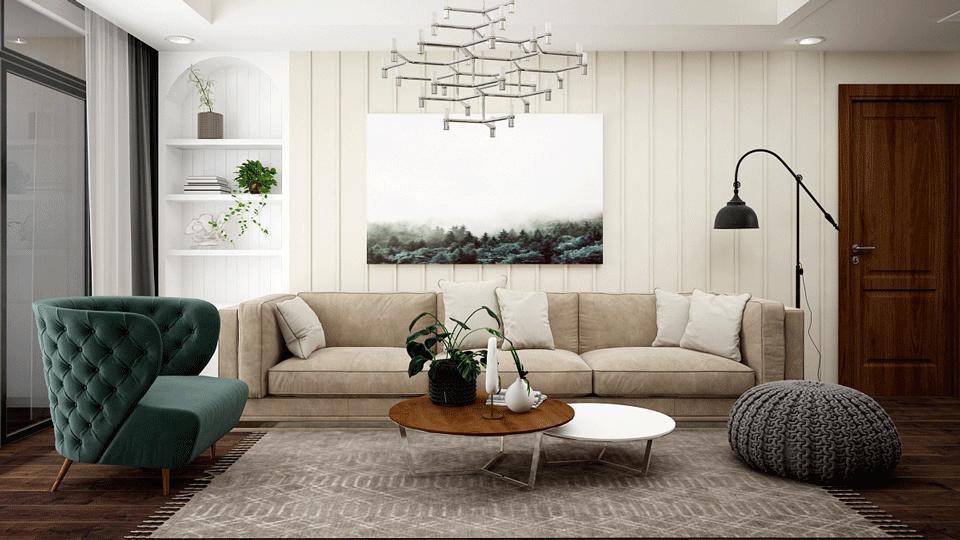 Ấn tượng mẫu thiết kế nội thất căn 3 phòng ngủ hiện đại