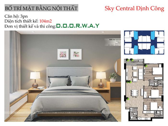 (MB)Thiết kế nội thất căn hộ 104m2 Sky Central Định Công