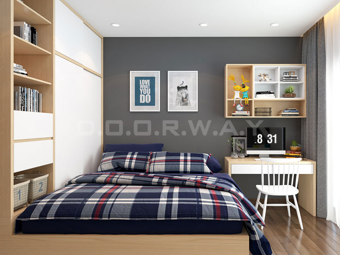 (2)Thức tế thiết kế thi công căn hộ chung cư 3 phòng ngủ hiện đại