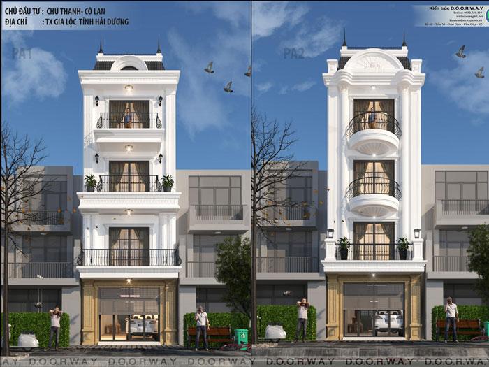 (2)Phương án kiến trúc nhà phố 4 tầng
