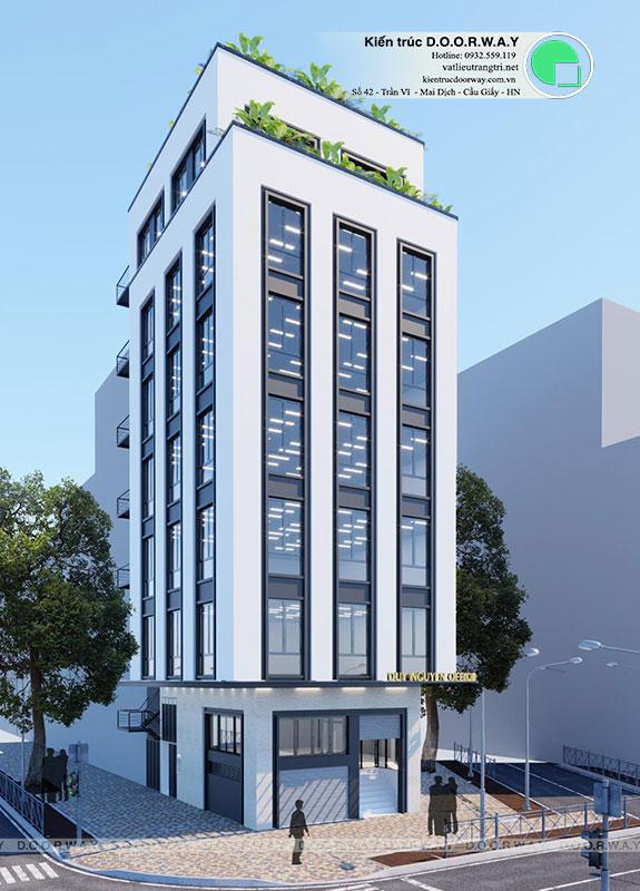 (2)Kiến trúc nhà phố hiện đại 7 tầng