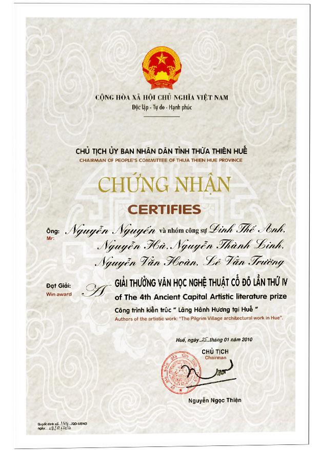Giải thưởng văn học nghệ thuật cố đô lần thứ 4 - Công trình kiến trúc Làng Hành Hương tại Huế