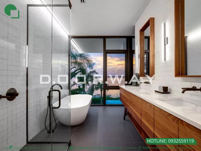 Gạch lát tường và ốp nền cho phòng tắm có sự tương đồng về màu sắc