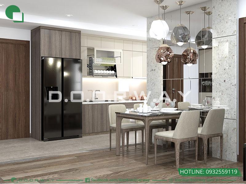 Mẫu thiết kế phòng bếp đơn giản nhà chung cư