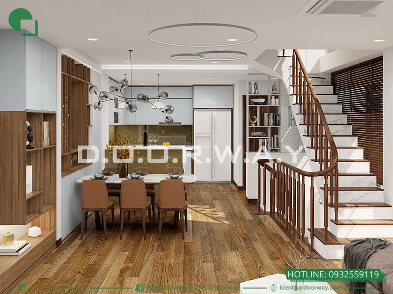 Chọn tông màu sắc hài hòa với không gian nhà cũng là một điểm đáng lưu ý trong trang trí phòng bếp
