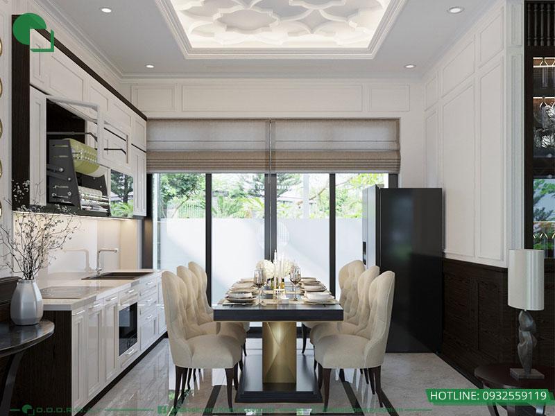 Thiết kế nội thất biệt thự liền kề phòng bếp