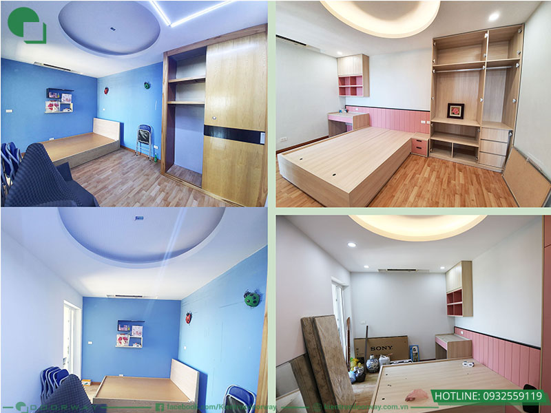 So sánh trước và sau thi công nội thất căn chung cư HUD3