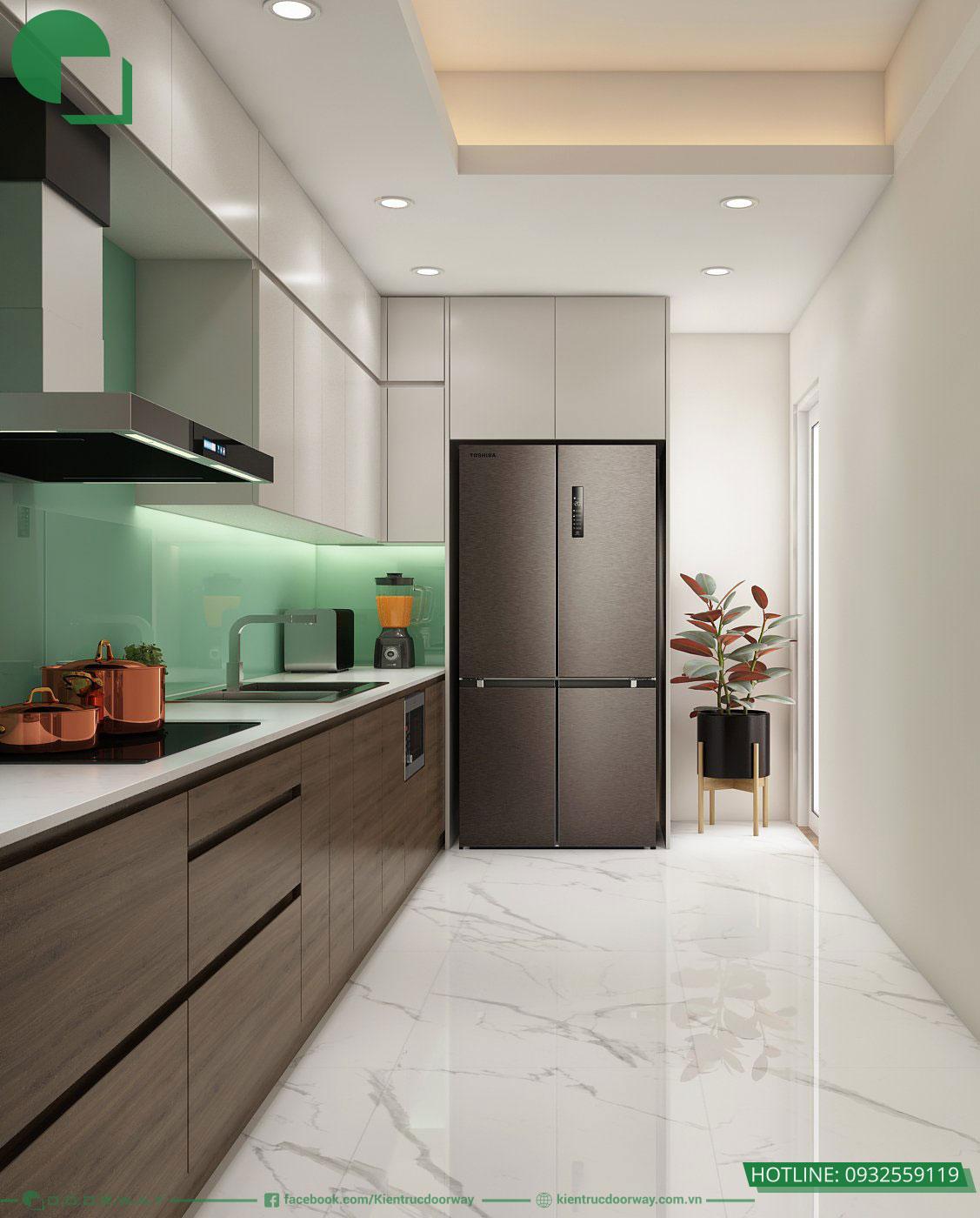 Góc không gian bếp nhỏ nhưng vẫn đầy đủ vật dụng cần thiết