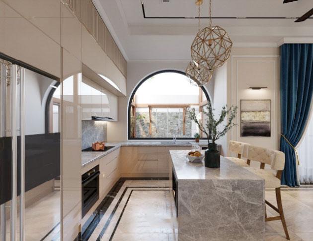 Mẫu thiết kế nội thất phòng bếp biệt thự song lập khu Sao biển
