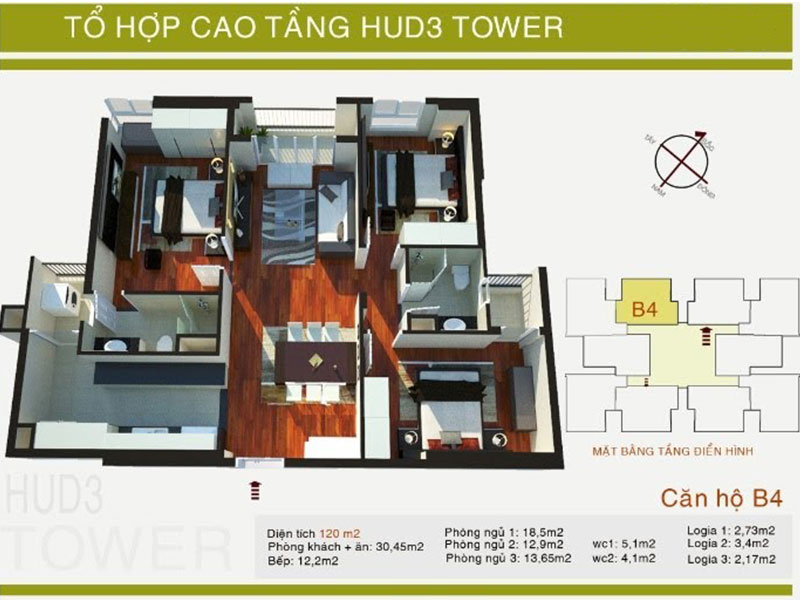 Mặt bằng căn hộ P2507 Chung cư HUD3 Tower Hà Đông
