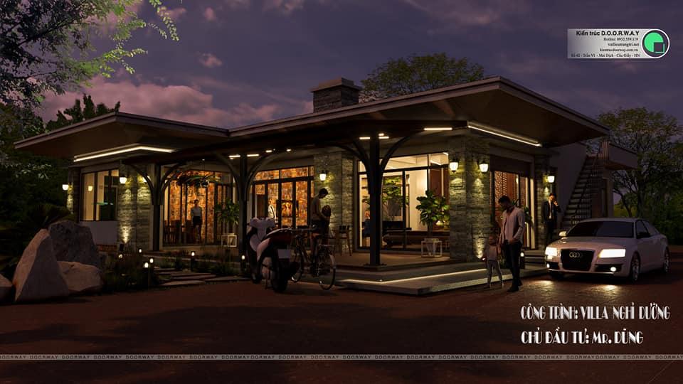 Phối cảnh 3D ban đêm cho lối kiến trúc nhà nghỉ dưỡng nhà anh Dũng