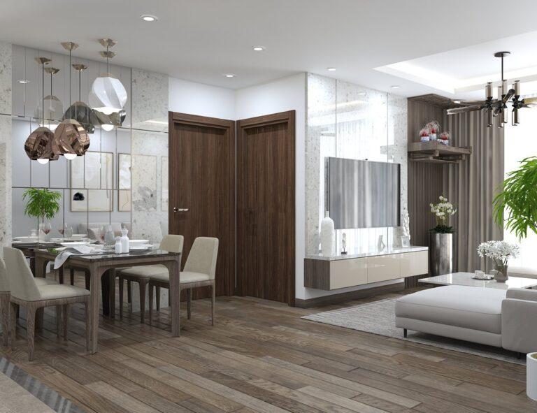 Mẫu thiết kế nội thất phòng khách hiện đại nhà chị Thủy - MHDI