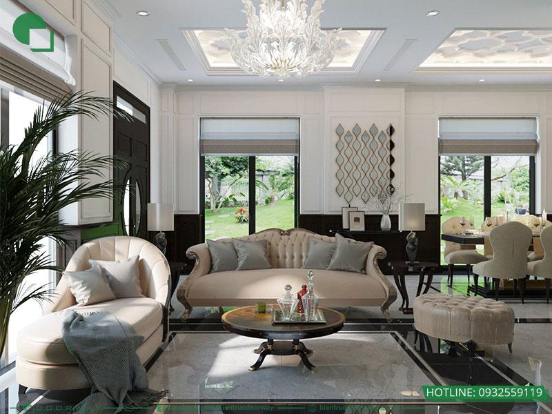 Phòng khách đẹp biệt thự tại Vinhome Ocean Park mang phong cách Indochine