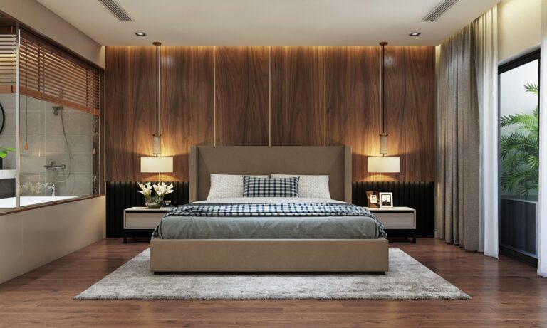 Nội thất phòng ngủ được bày trí theo phong cách hiện đại cực kì đơn giản