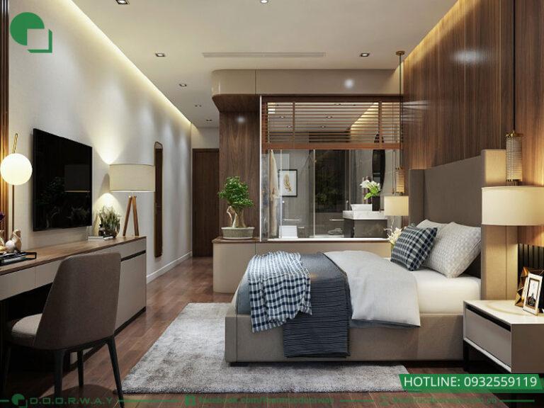 Không gian liền giữa phòng ngủ và phòng tắm thể hiện vẻ đẹp đẳng cấp và hiện đại