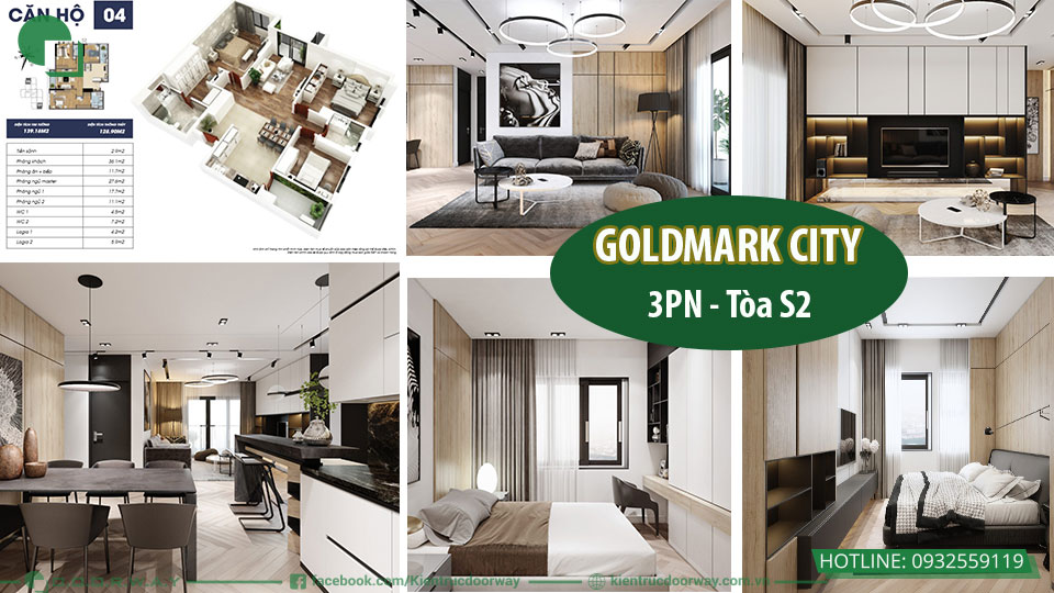 Thiết kế nội căn 3 ngủ chung cư Goldmark City