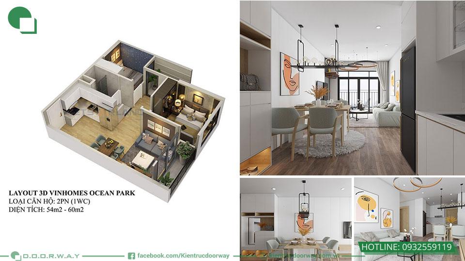Thiết kế nội thất chung cư 2PN Vinhome Ocean Park