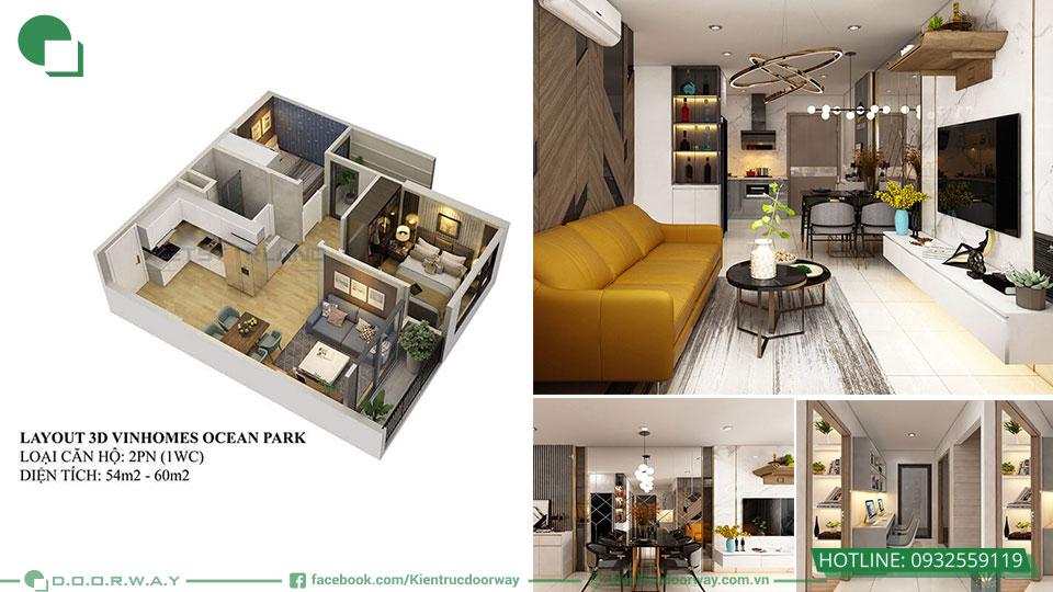 Thiết kế nội thất chung cư 55m2 2pn+1 Vinhome Ocean park