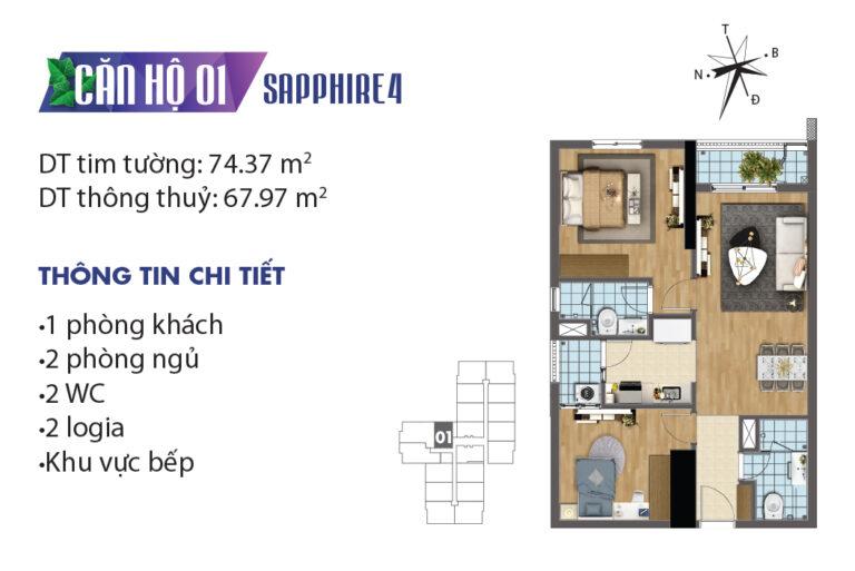 Măt bằng căn hộ chung cư Goldmark City 2PN tạ tòa S4
