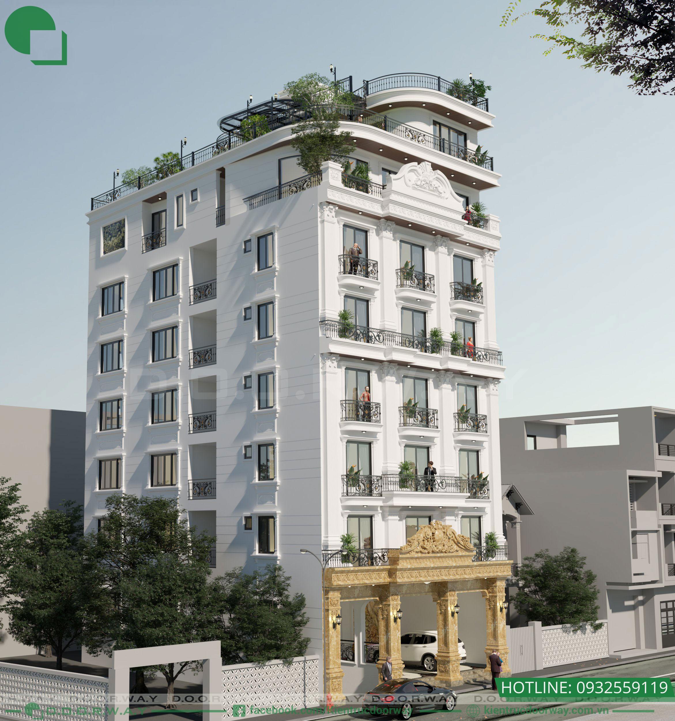 phối cảnh công trình nhà phố 7 tầng 13x20