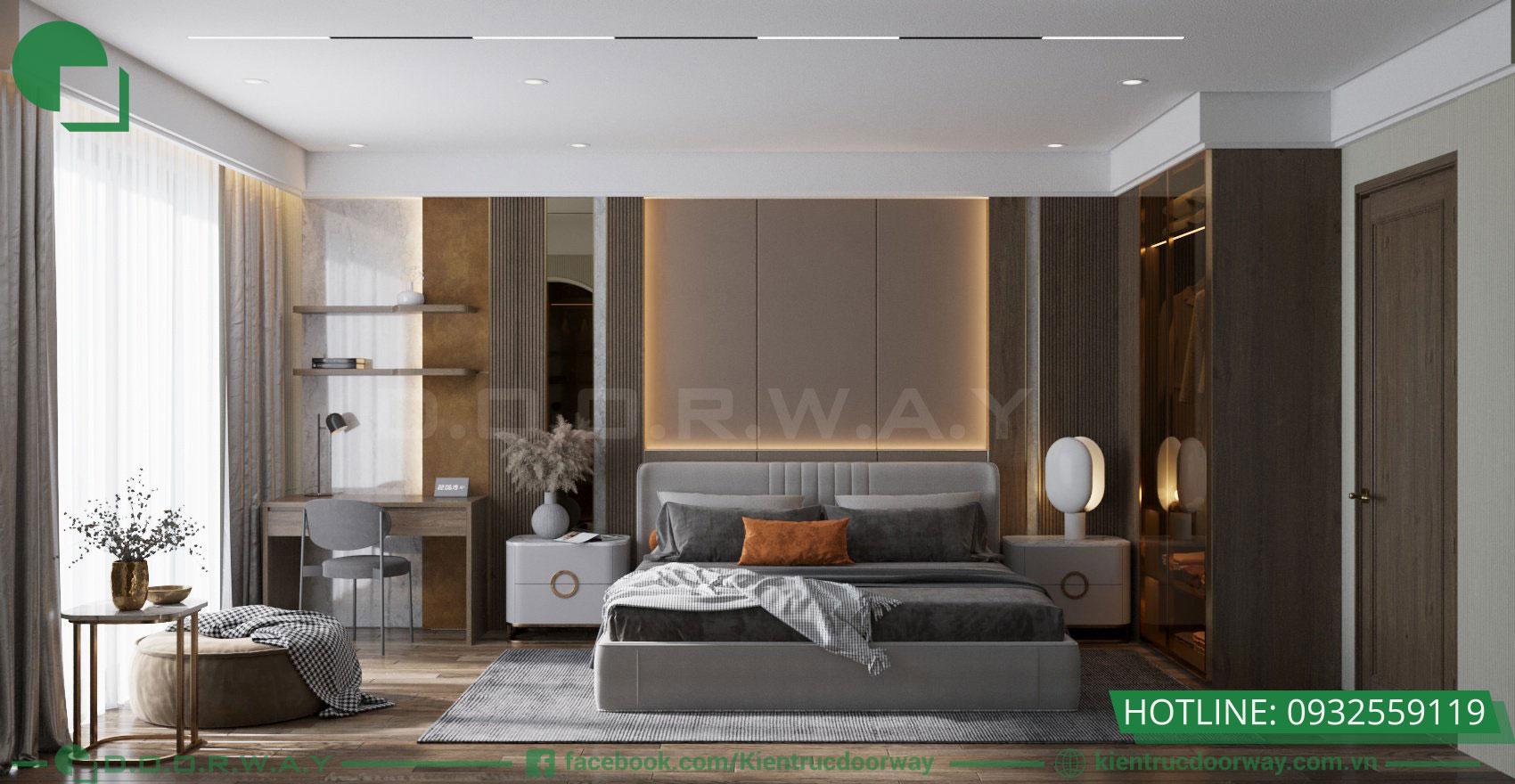 Thiết kế 3D không gian tầng sinh hoạt gia đình- Phòng ngủ master