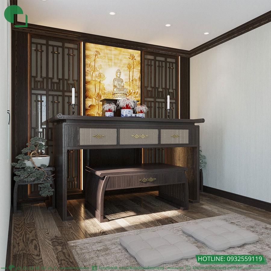 Thiết kế 3D không gian tầng sinh hoạt gia đình- Phòng thờ
