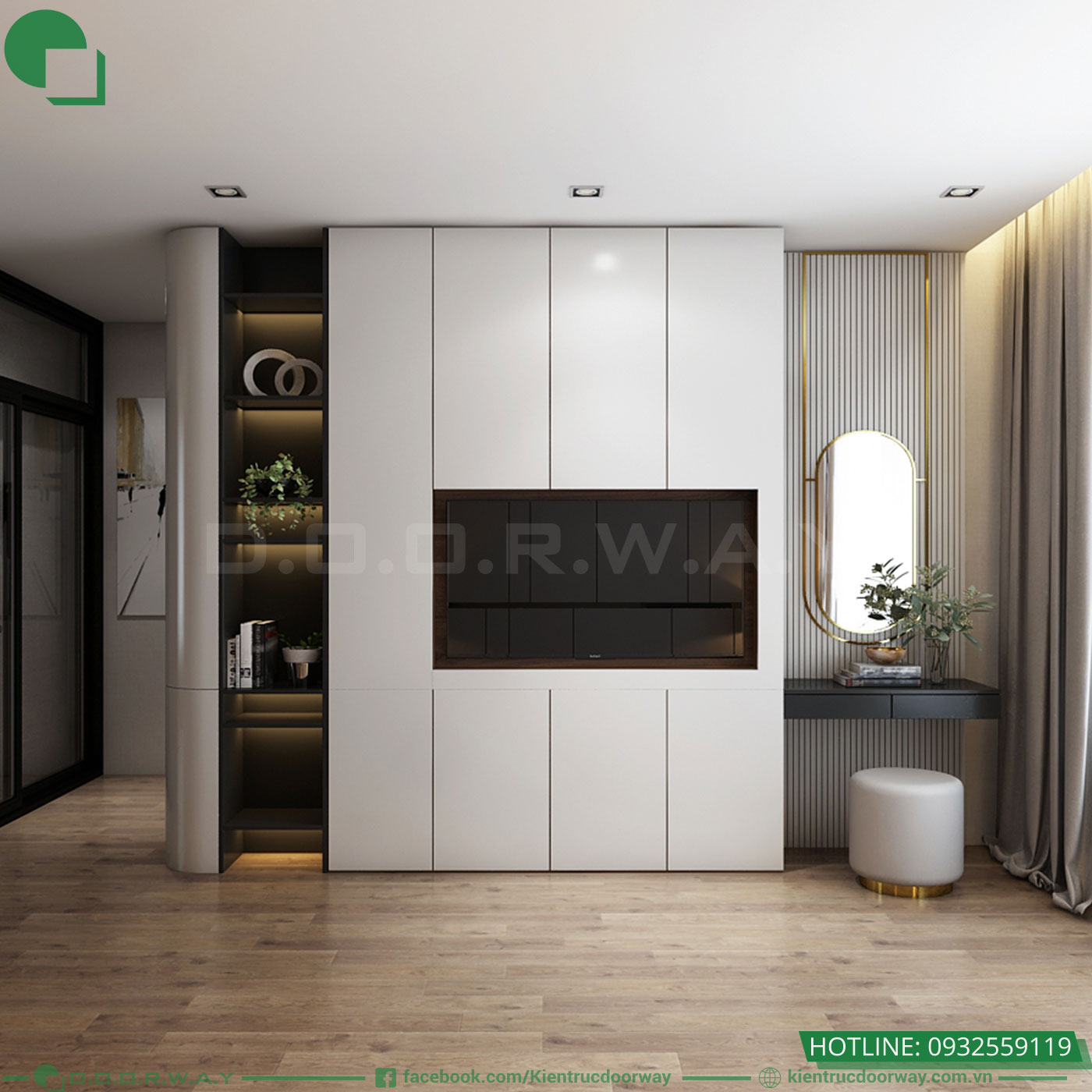Thiết kế nội thất nhà phố hiện đại phòngngủ Master