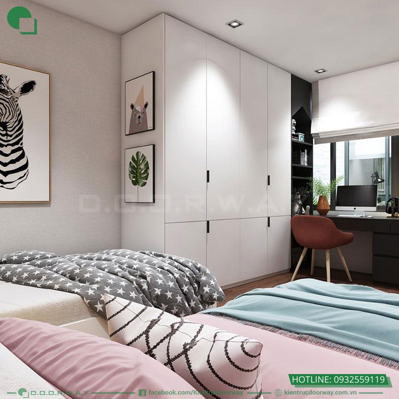 Thiết kế nội thất nhà phố hiện đại phòng ngủ 2 con gái