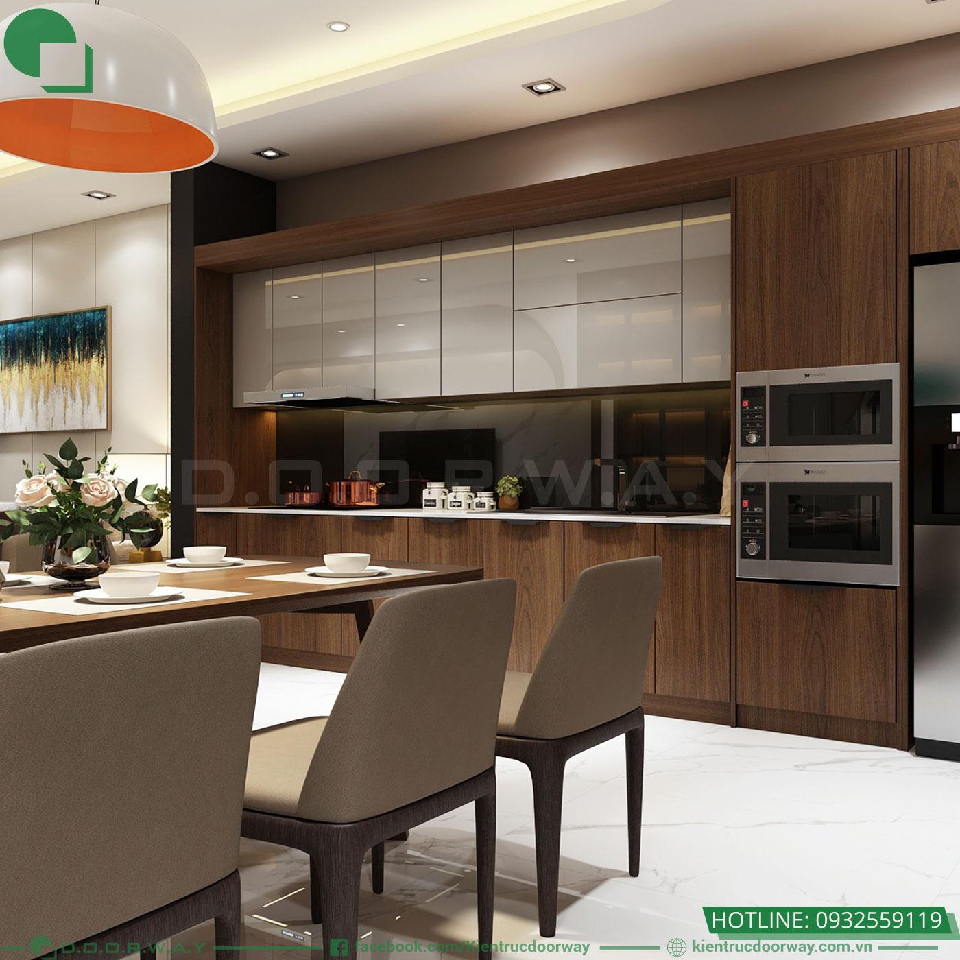 Thiết kế nội thất nhà phố hiện đại phòng bếp