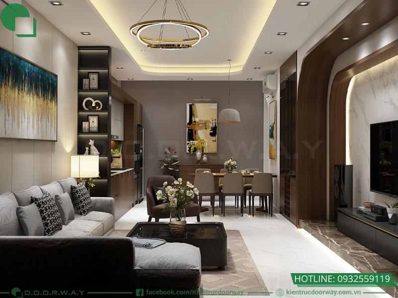 Thiết kế nội thất nhà phố hiện đại phòng khách