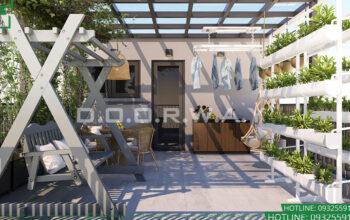 3D Không gian tiểu cảnh tại tầng 4 nhà phố nhà anh Long - Gia Lâm